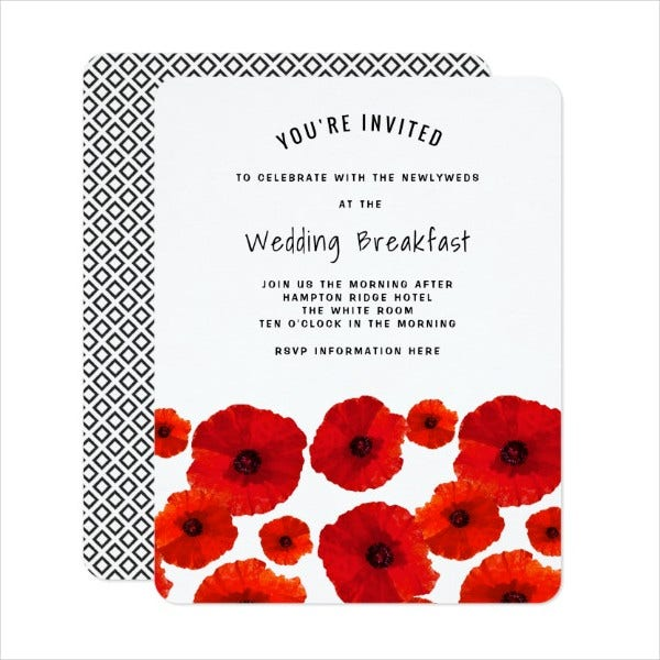 formal breakfast invitation card