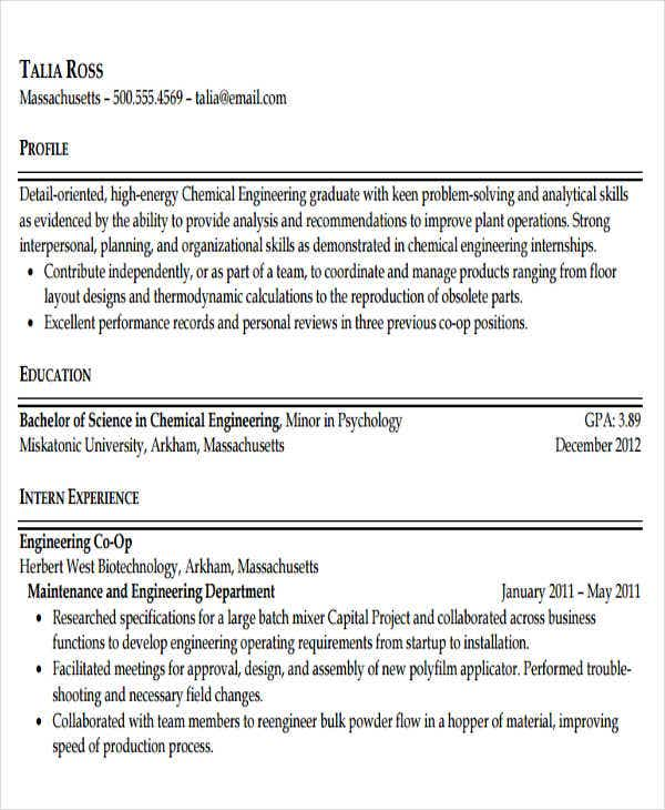 chemical engineering graduate resume1