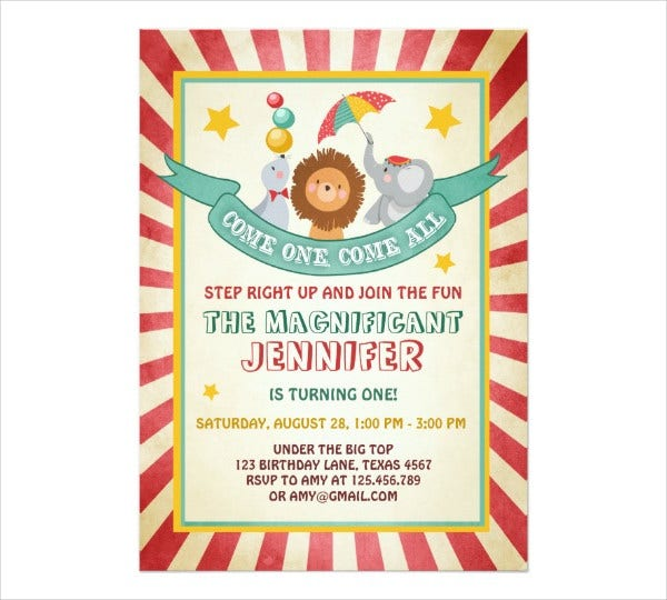 vintage circus invitation card