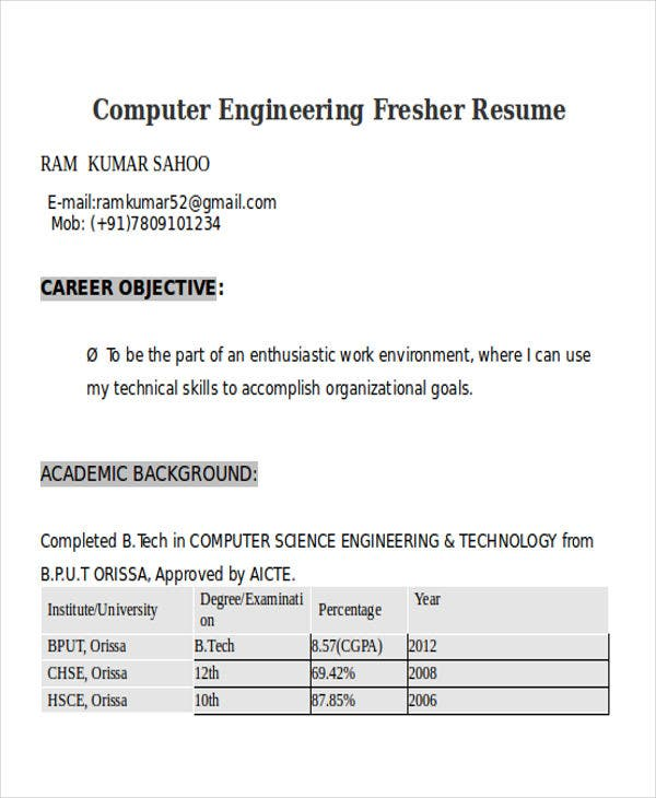 computer engineering fresher resume