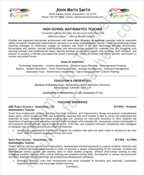 high school teacher resume format5