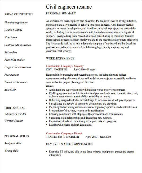 Engineering Resume Templates In Pdf  Free  Premium Templates