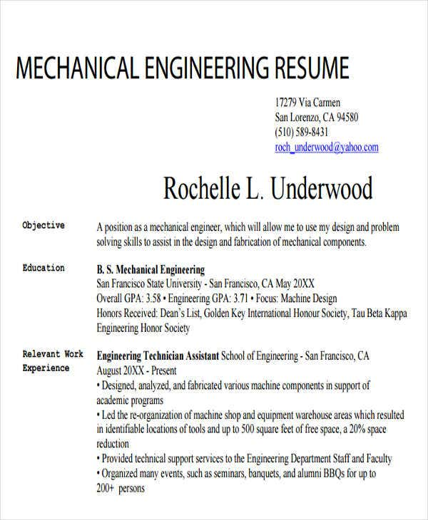 30 generic engineering resume templates free premium