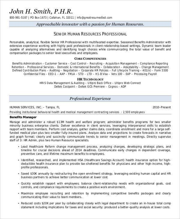 senior hr executive sample resume samples manager templates