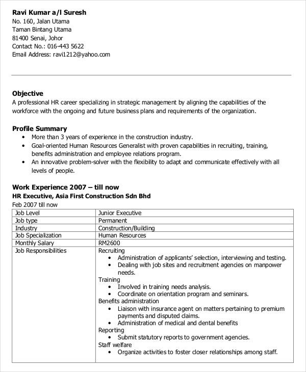 Hr Executive Resume Sample | Sample Resume And Free Resume Templates