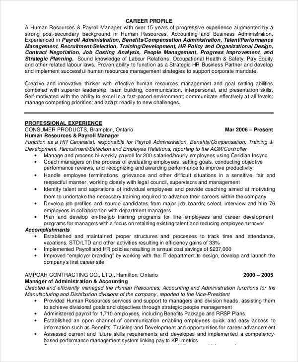 Sample Hr Executive Resume: 48+ Executive Resume Templates - PDF, DOC