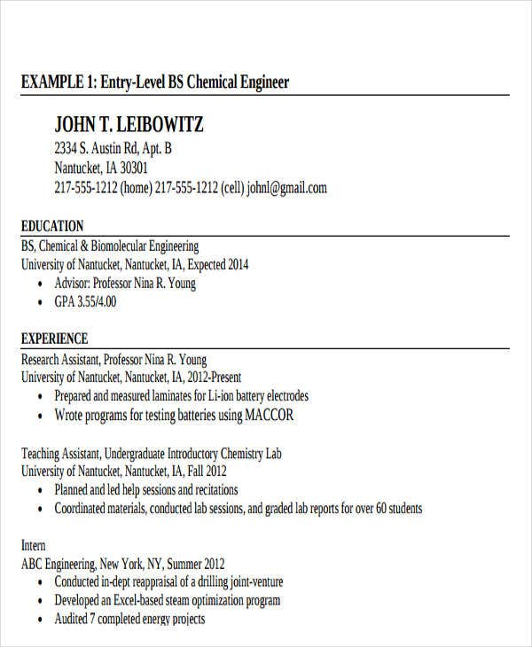 entry level chemical engineering resume1