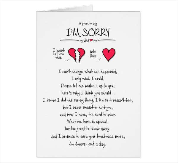 Love Sorry Greeting Card