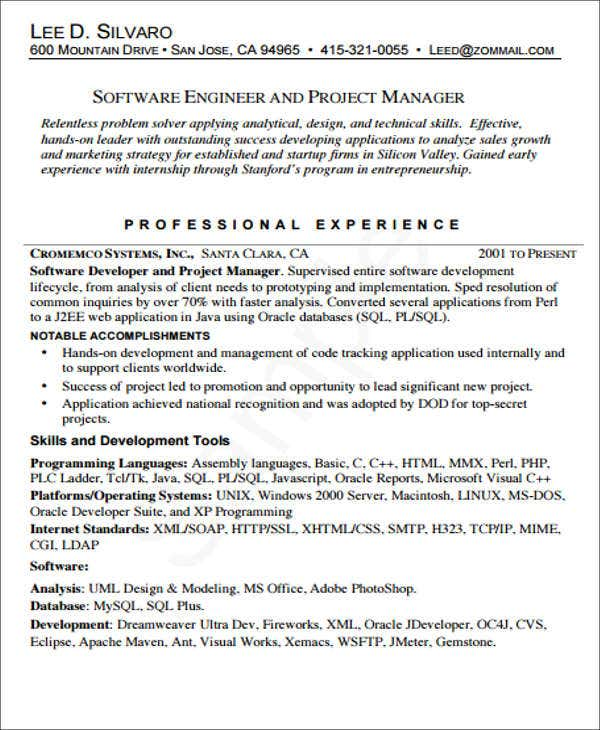 Software Engineering And Project Manager. Resume Resource.com  Software Engineering Manager Resume