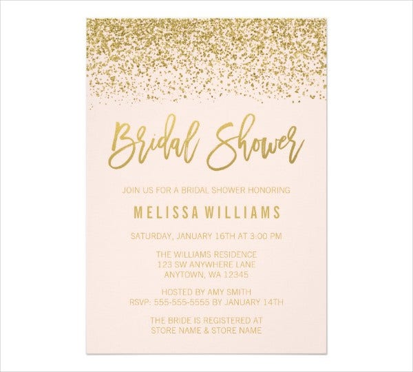 glitter bridal shower invitation card