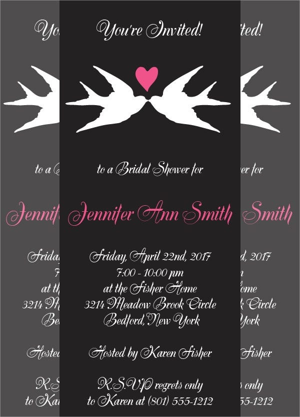 love birds bridal shower invitation card