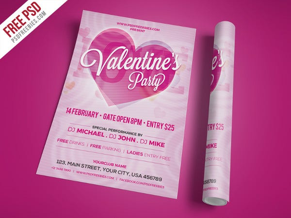 valentines day party invitation flyer