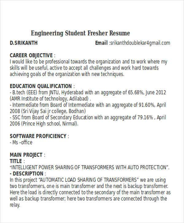 engineering student fresher resume3