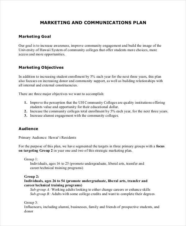 Strategic Communication Marketing Plan