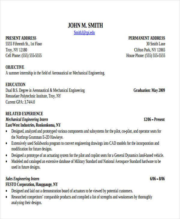 Mechanical Engineering Summer Internship Resume — Vila \