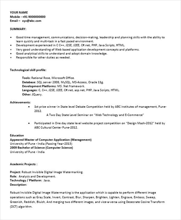 fresher resume format in doc
