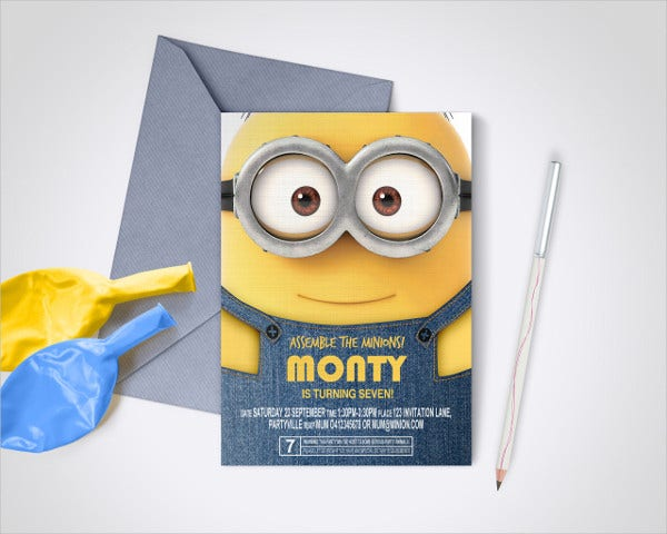 diy minion invitation card