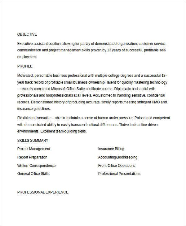 functional executive format resume