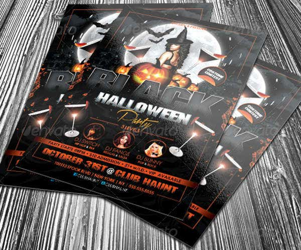 black halloween party flyer