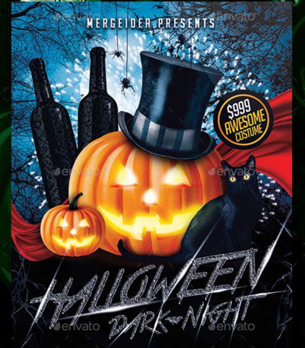 halloween dark night party flyer
