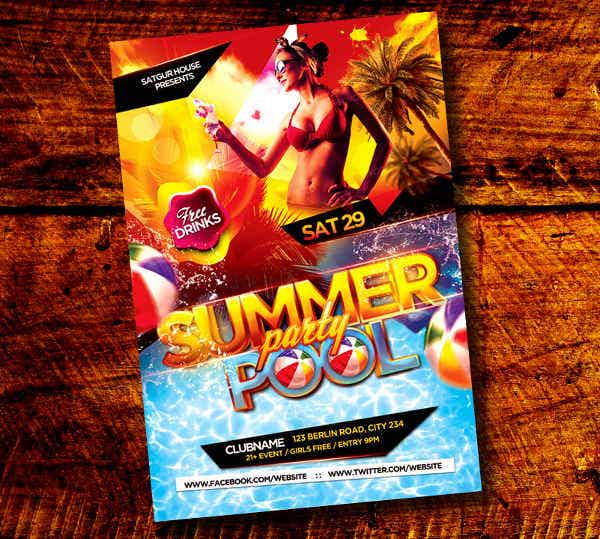 -Summer Pool Party Flyer