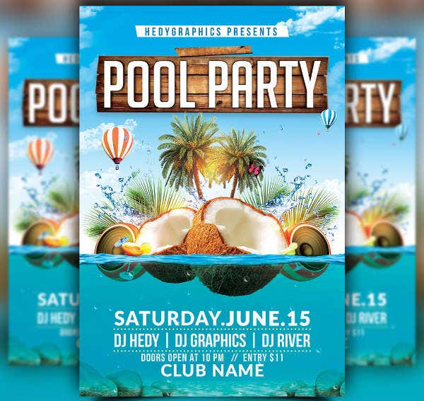 -Free Pool Party Flyer