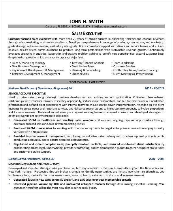 Senior Sales Executive Resume Sample