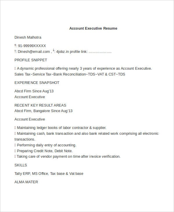 Executive Resume Templates In Word. Accounts Executive In Word