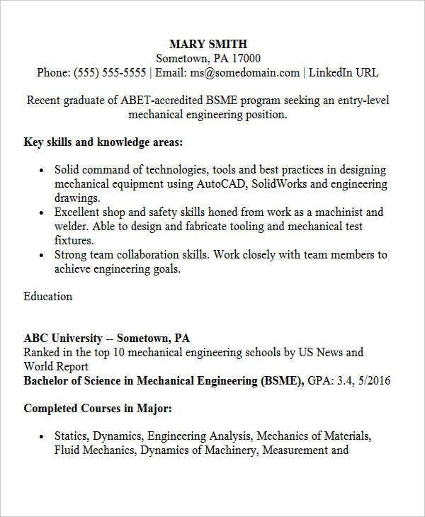 entry level mechanical engineering - Mechanical Test Engineer Sample Resume