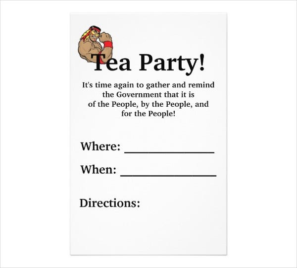 Sample Tea Party Flyer