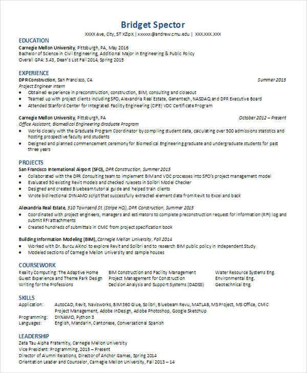 junior civil engineer resume pdf template