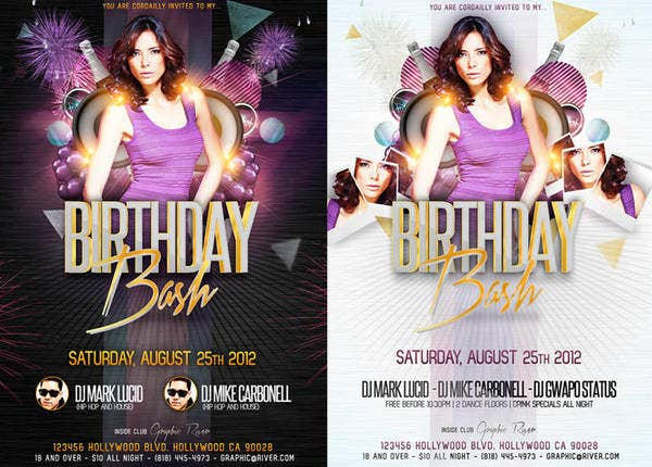 -Feminine Birthday Party Flyer
