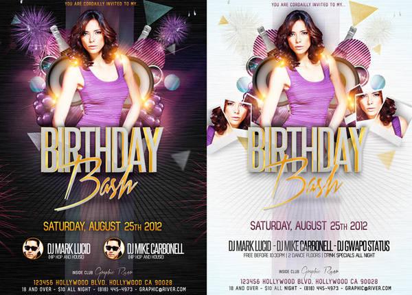 feminine birthday party flyer