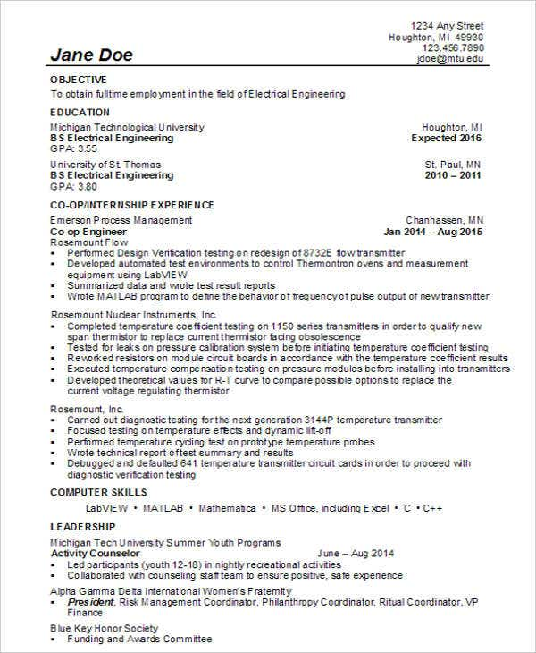 Electrical Engineering Student  Electrical Engineering Student Resume