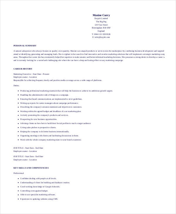 professional marketing executive - Professional Executive Resume