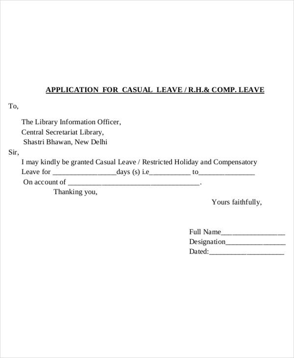Leave Application Sample Format In Word Cover Letter Examples – Leave Application
