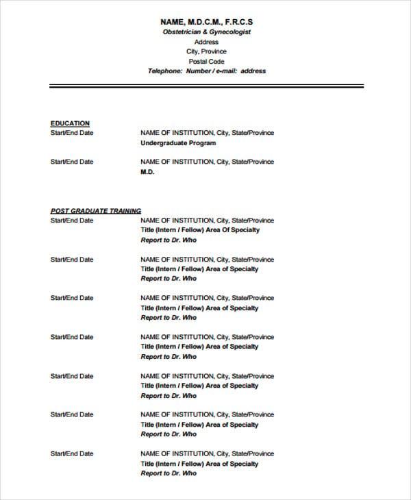 formal resume formats