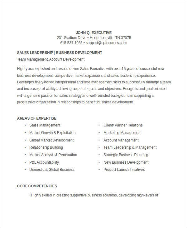 sample resume in doc - Sales Executive Resume Samples