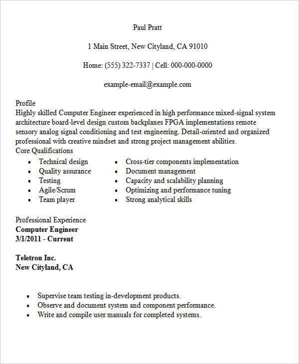 Computer Engineering Student  Computer Engineer Resume