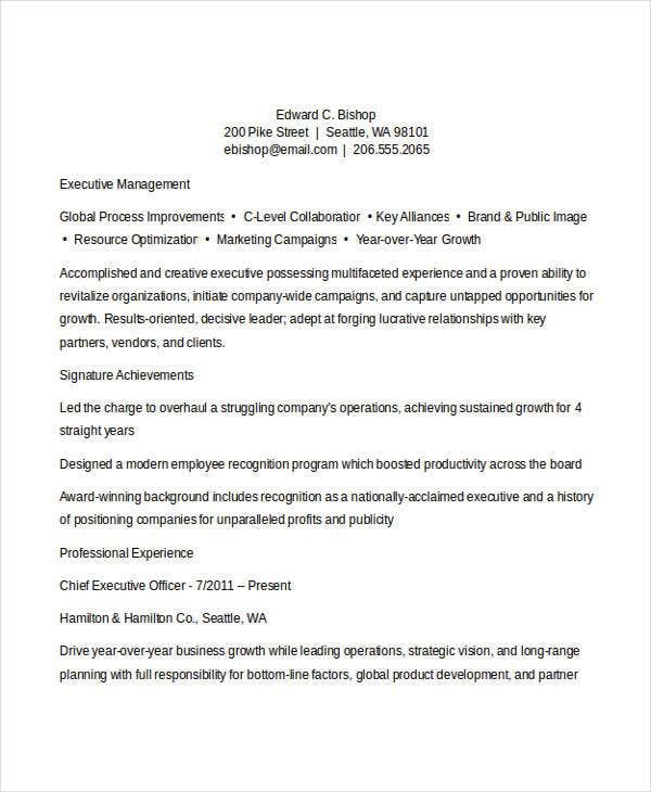 Executive Resume Format  Resume Format And Resume Maker