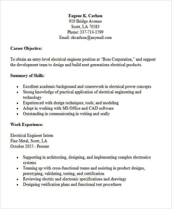 entry level electrical engineering entry level engineering resume