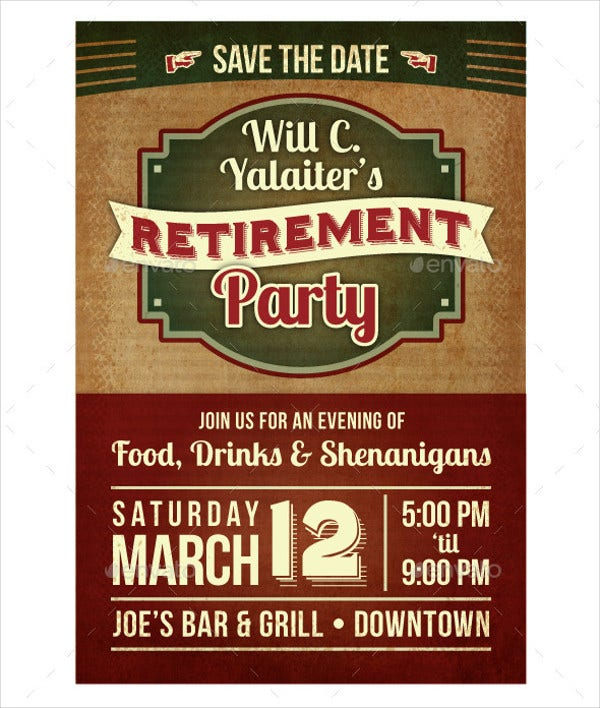 Retirement Party Invitation Flyer