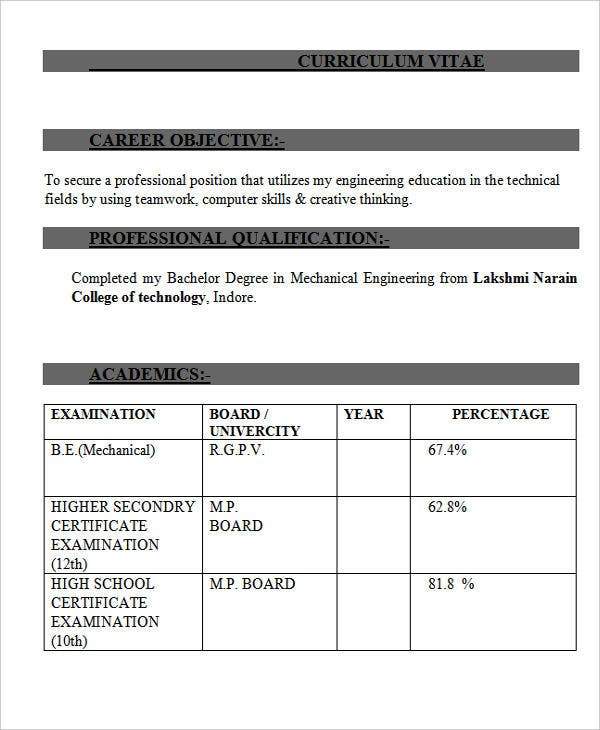 mechanical engineering fresher resume5
