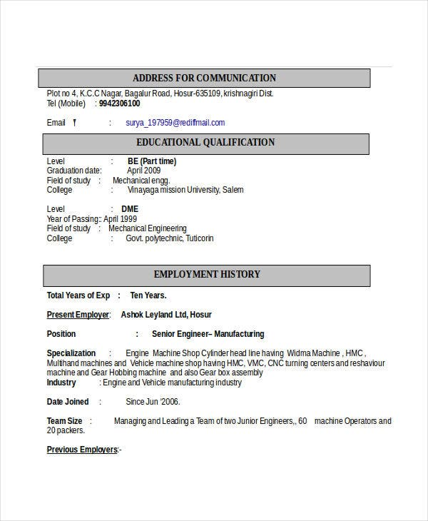 automobile engineering resume format - Engineering Resume Templates Word
