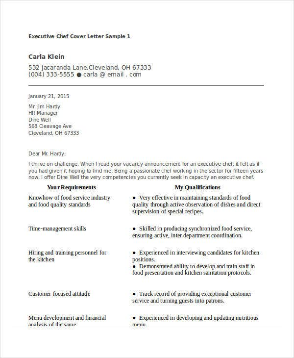 Executive chef cover letters Research paper Sample - January 2019 ...