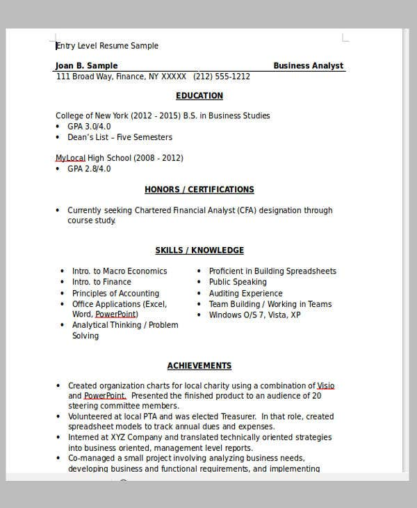 13  fresher resume templates in word