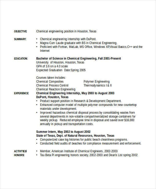 chemical engineering internship resume3