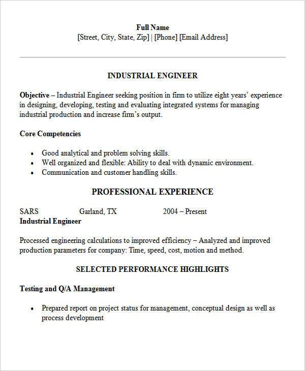 industrial engineering example - Industrial Engineer Resume New Section