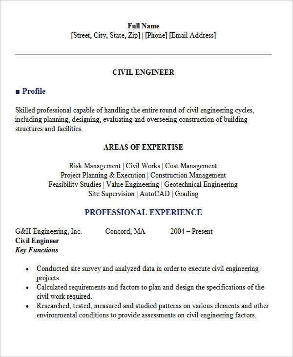 resume civil engineer resume