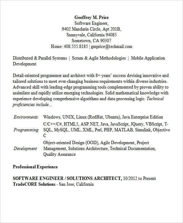 sample software engineering resume